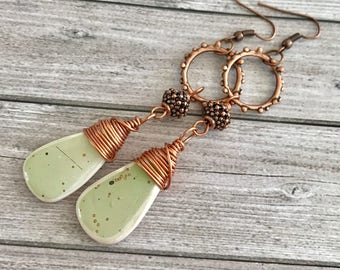 Green white long copper chandelier Earrings  - Tribal Gypsy earrings - Bohemian boho Earrings - white green dangles earrings - Unique Gift