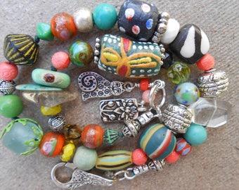 15%off AFRICAN TRADE BEAD bracelet bright boho bracelet cat charm