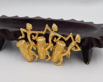 Vintage Tribal Africans Playing Drums Pin or Brooch in Need of Repair or Repurpose dr50