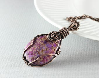 Wire Wrap Jewelry Copper Jewelry Amethyst Jasper Necklace Wire Wrap Pendant Copper Necklace Wire Wrap Necklace Copper Wire Wrap