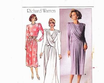 Butterick 3580 Size 14 Vintage Wrap Top Dress Cocktail Evening Dress UNCUT