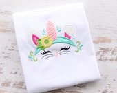 Easter Unicorn Bunny Embroidery Applique Shirt