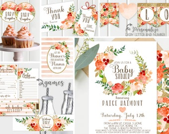 Gold Baby Shower Invitations - Decor + Games - Peach and Gold, Girl Baby Shower, FULL collection Floral