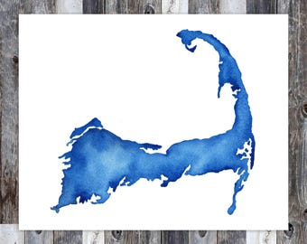 Cape Cod Print, Cape Cod Art, Cape Cod Map, Cape Cod Watercolor, Cape Cod Gift, Cape Cod MA, Massachusetts Print, East Coast Art, East Coast