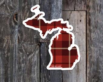 Plaid Michigan Sticker, Michigan Decal, Michigan bumper sticker, Michigan state, Michigan gift, Michigan plaid, Unique Michigan stickers