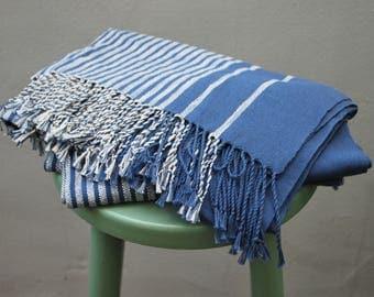 Linen and cotton striped cornflower blue & ivory scarf-shawl