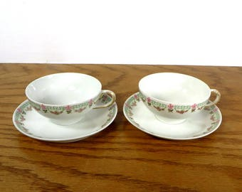 2 Limoges China Cups and Saucers William Gudrin and Company Limoges France 1920s 1930s Porcelain China