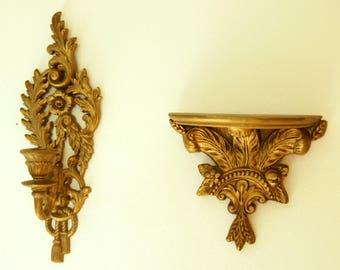 Gold Wall Decor Set, Burwood Candle Sconce, Vintage Floating Shelf, Gilt Wall Sconces, Hollywood Regency