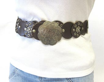 Brown Leather Belt with Rivets and Grommets