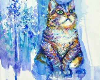 """Winter Cat - 12x12"""" print"""