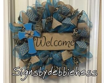 Welcome Turquoise Burlap Wreath Glitzy Animal print Deco Mesh