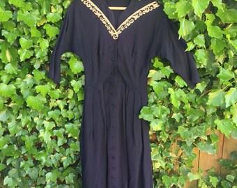 Vintage 1950s navy blue rhinestone dress/ 50s dress/ small