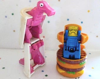 Vintage McDonald's Happy Meal Toys, Changeables,  BIG Mac and Soft Drink- 2 in lot, Transformers, Kids toys, Dinosaur and Robot  Food Toys