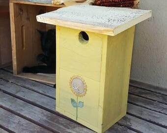 birdhouse,rustic bird house,sunflowers,garden decor,outdoor bird house,gift,cottage,rustic home decor,wooden birdhouse,primitive,handmade