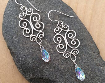 Sterling Silver Filigree Earrings with Swarovski Crystals