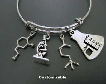 Science Bracelet / Chemist Bangle / Microscope Bracelet / Dopamine and Acetylcholine Bangle  / Laboratory Bangle / Adjustable Charm Bangle