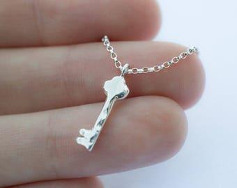 Tiny Key Necklace - Sterling Silver Cast Hand Carved Skeleton Key