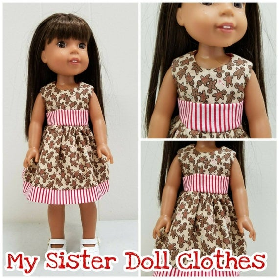 Christmas Gingerbread Dress for 14 Inch Dolls Wellie Wisher