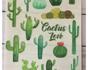 Watercolor Desert Cactus Sticker Sheet Set Cactus Love