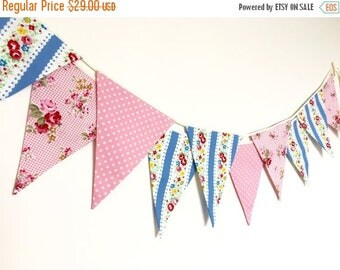 ON SALE New Pink and Blue Fabric Banners, Garland, Wedding Bunting,Garland,  Floral, Roses, Stripes, Polka Dots - 3 yards