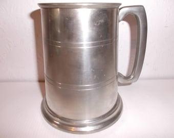 English Sheffield Pewter Tankard With Glass Bottom Vintage Metal Stein Pub Mug Breweriana