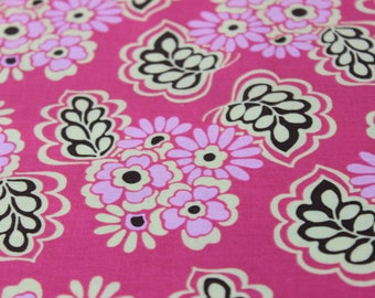 Blush Pink background with Pink and Yellow Flower Motif Cotton Fabric by Riley Blake Designs. Dresses, Aprons, Quilts, Headbands Totes