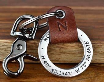 3rd Anniversary Gift for Men - Leather Keychain, Custom Coordinates Keychain, Latitude Longitude, Husband Gift, Boyfriend Gift, Made in USA
