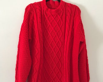 Vintage 90's Red Fisherman Sweater