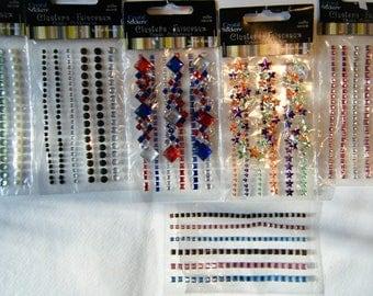 """Assorted Crystal Stickers for Crafts // Destash Supplies// """"Gem"""" Embellishments"""