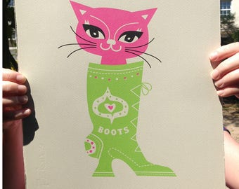 Puss In Boots - Limited edition print -  Cat Screen Print - Cat lover gift - Cat art print