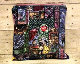 Stained Glass Fairy Tale Small Wet Bag, Cloth Diaper Wet Bag, Reusable Waterproof Bag, Beach Bag, Pool Bag, Swimsuit Bag, Makeup Bag
