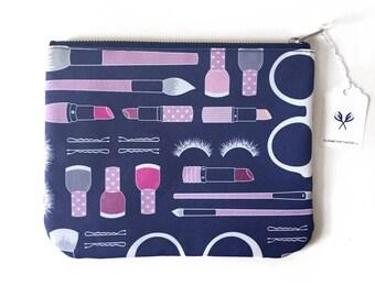 SALE - Large Flat Pouch, Beauty Haul Fabric, Original Pattern, Makeup Design, Lipstick Nail Polish Makeup Brush Print, Cosmetic Bag, Travel