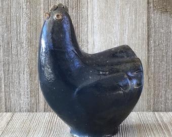 Blue Hen Figurine, Chicken Sculpture