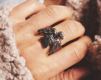 TLR-01, Handmade vintage thunderbird concho leather ring