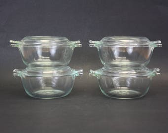 Vintage Clear Pyrex Personal Covered Casserole Dishes, Set of 4 (E8826)