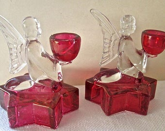 Angel and Star Candle Holders Ruby Flash Glass Edwardian