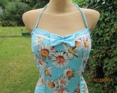 1 PC Swimsuit / 1 PC Swimwear / Swimsuit Vintage / Size EUR42 / UK14 / One Piece Swimsuit / Swimwear / Blue / One Piece Swimwear