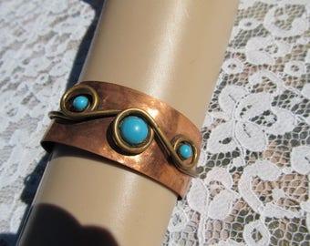 Vintage Copper Faux Turquoise Cuff Bracelet