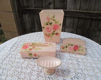 Vintage Shabby Chic Hand Painted Pink Roses Four (4) Piece Powder Room Set