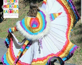 Special order! Unicorn Pastel Rainbow Spiral Patchwork Gipsy Coat