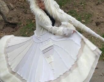 Special Order! WHITE As SNOW FauxFur Gipsy Spiral Coat (White&Biege w/White Fur)