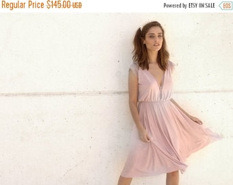 Blush bridesmaid dress, knee length dress, lace on cleavage ,full circle skirt