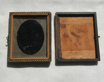 Two Old Antique Tin Type Photo Half Cases