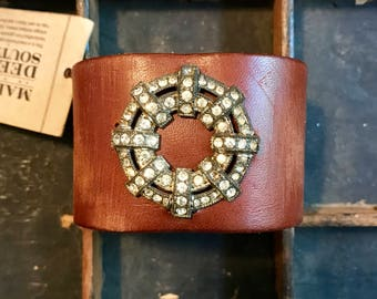 Medium Brown Leather Cuff Bracelet Adorned with Vintage Brooch madeinthedeepsouth K914