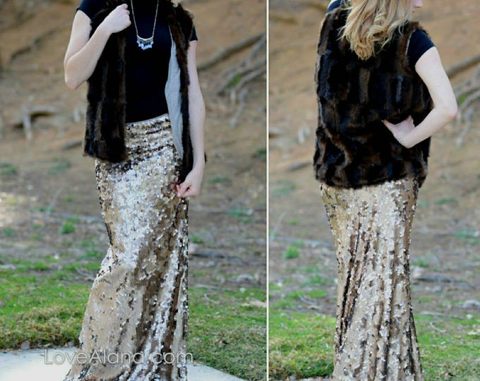 Bronze Maxi Sequin Skirt - Gorgeous high quality large dangly sequins. Limited quantity.