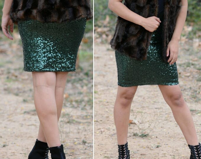 Free Shipping! Forest Green Pencil Sequin Skirt - Stretchy, beautiful knee length skirt (S,M,L,XL) Made in LA! Ships asap!