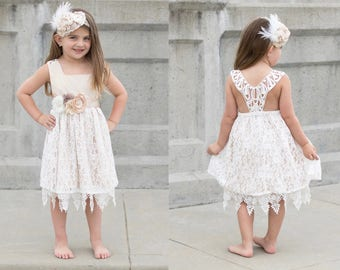 Lace flower girl dress, flower girl dresses, Flower girl dress with lace back, l champagne and ivory lace flower girl dress, champagne sash