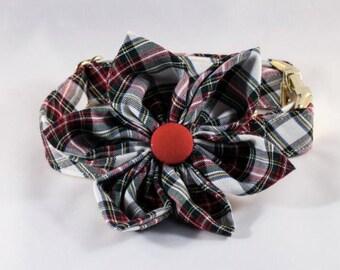 Tartan Plaid Girl Dog Bow Tie Collar, Holiday Dog Collar, Bowtie Dog Collar, Red and Green Dog Collar, Fall , Scottish, Flannel, Christmas