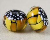 2 Yellow monarch butterfly beads 11 mm x 16 mm, 2.7 mm hole (Item 18102)