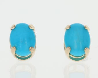 Turquoise Stud Earrings - 14k Yellow Gold Oval Solitaire Pierced G0365
